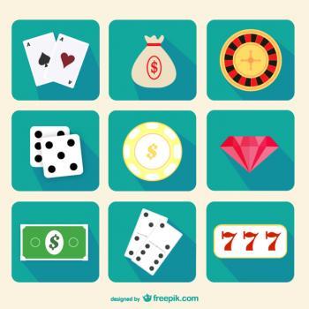 turkoosilla taustalla kasinomerkkejä